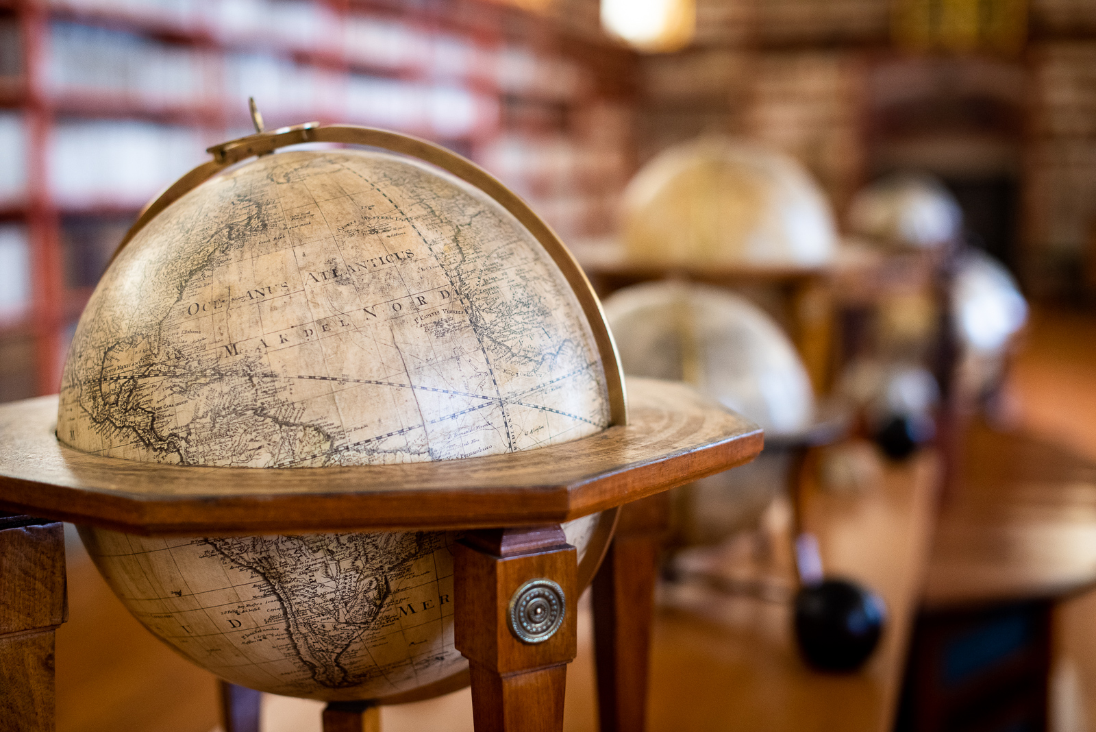 antique globes in the theological hall