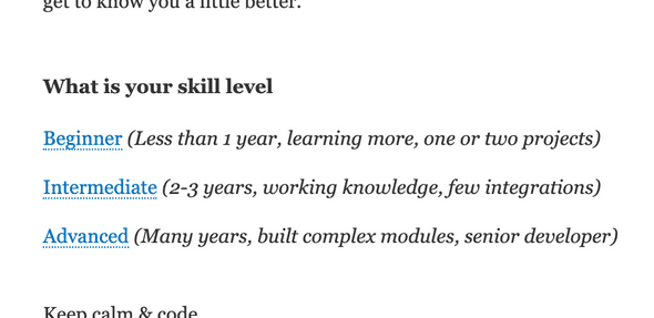 What is your skill level