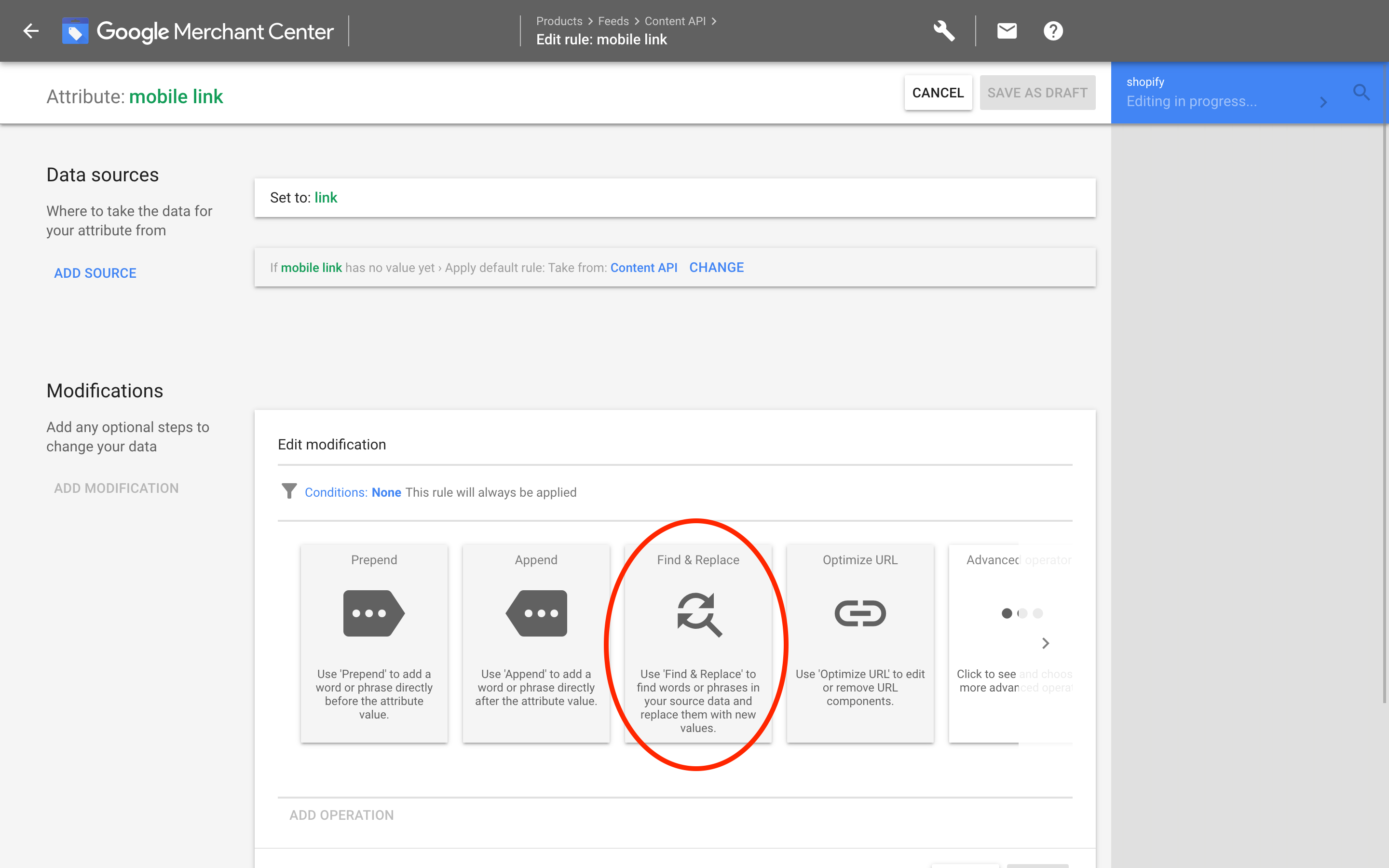 Google Merchants: Link modifications