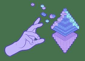 Illustrasjon av en hånd som lager en Ethereum-glyph av lego-brikker