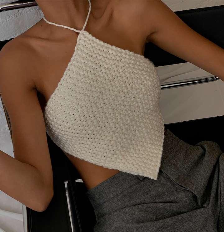 Knitted Halter Neck Top White