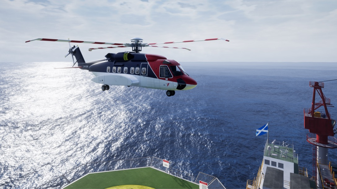 Helicopter landing on an oil rig - virtual reality experience.