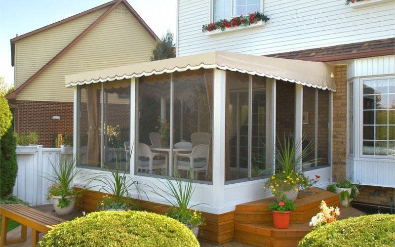 Wall Mounted, Three Sided Patio Enclosure