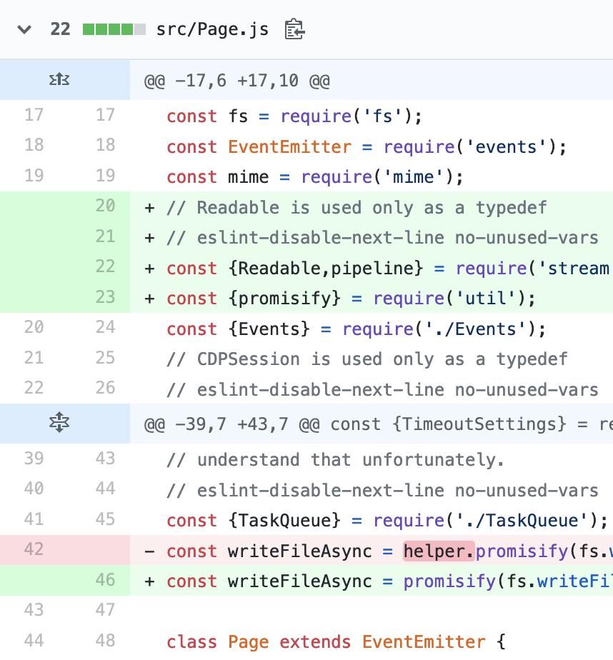 screenshot of a code diff on GitHub