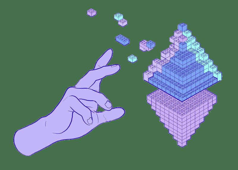 Illustration of blocks being organised like an ETH symbol