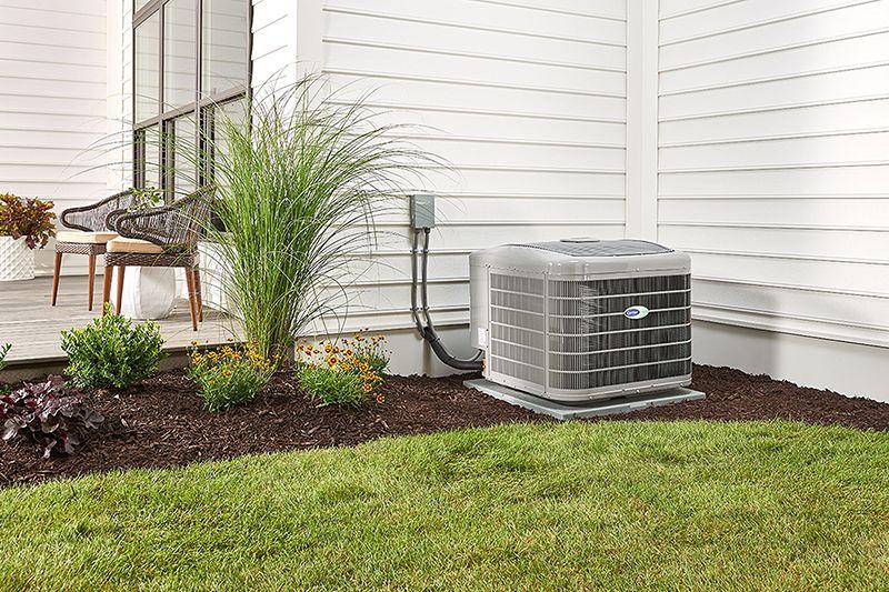 outdoor carrier air conditioning unit in garden