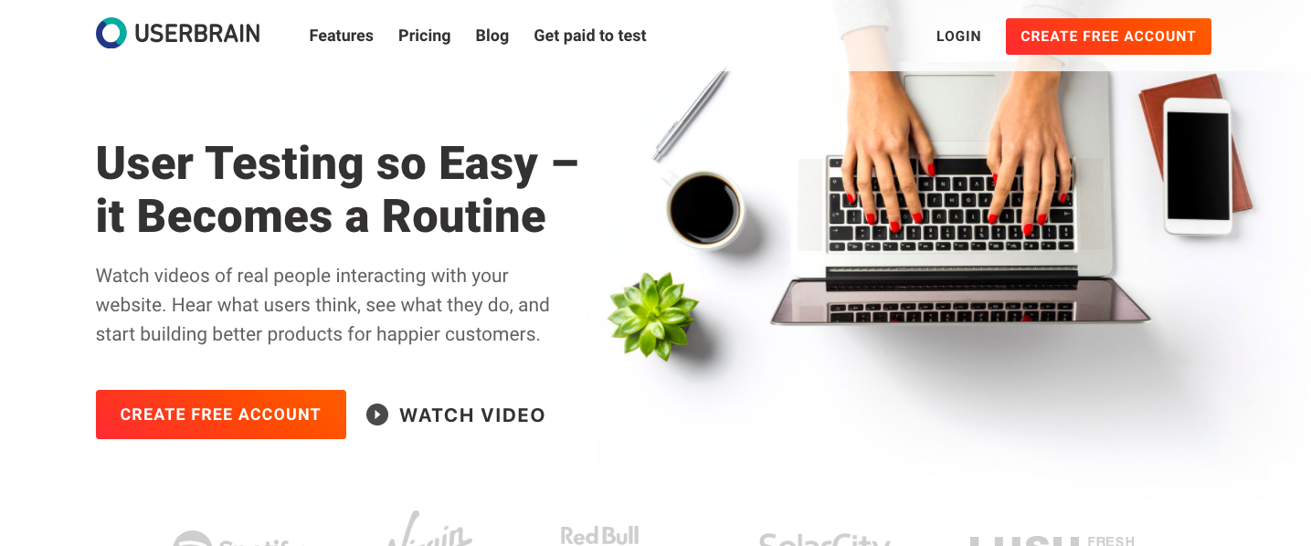 Screenshot of the UserBrain homepage on April 22, 2020