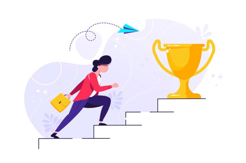 a woman climbing up a flight of steps to reach a gold cup
