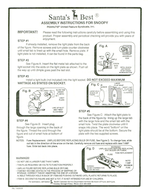 Santa's Best Snoopy #61790 Instruction Manual.pdf preview