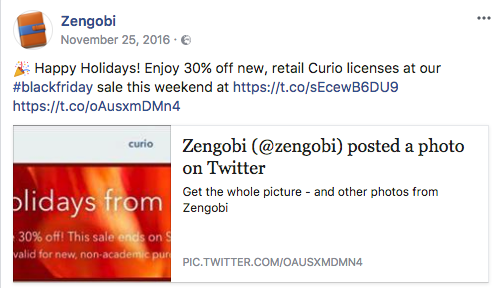 Zengobi's Black Friday Curio Facebook promotion
