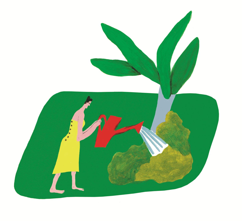 Eine Frau die sich um die Umwelt kümmert für eine bessere Gemeinschaft
