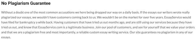 plagiarism policy on essayservice.com