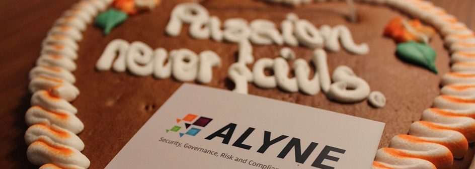 Alyne's business card on a gingerbread heart
