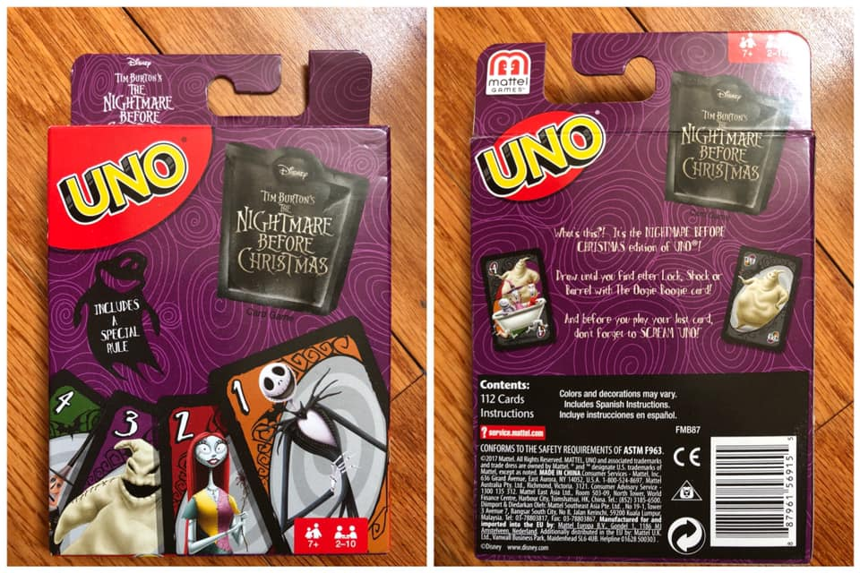 Nightmare Before Christmas Uno Card Game