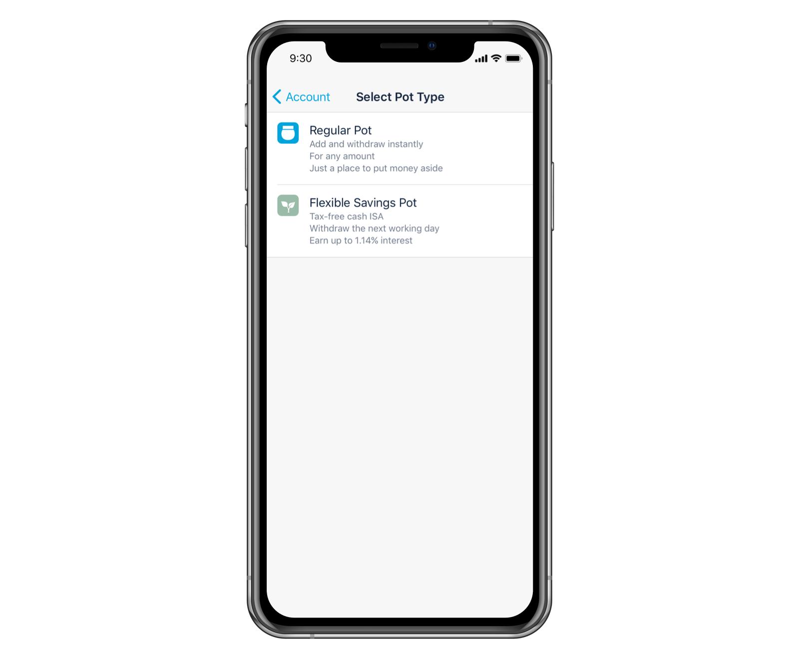 Screenshot of choosing an account type