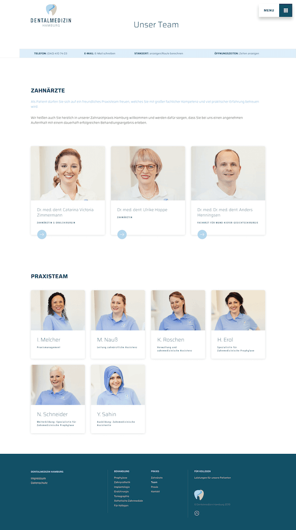 This page introduces the Doctors and nurses within Dentalmedizin