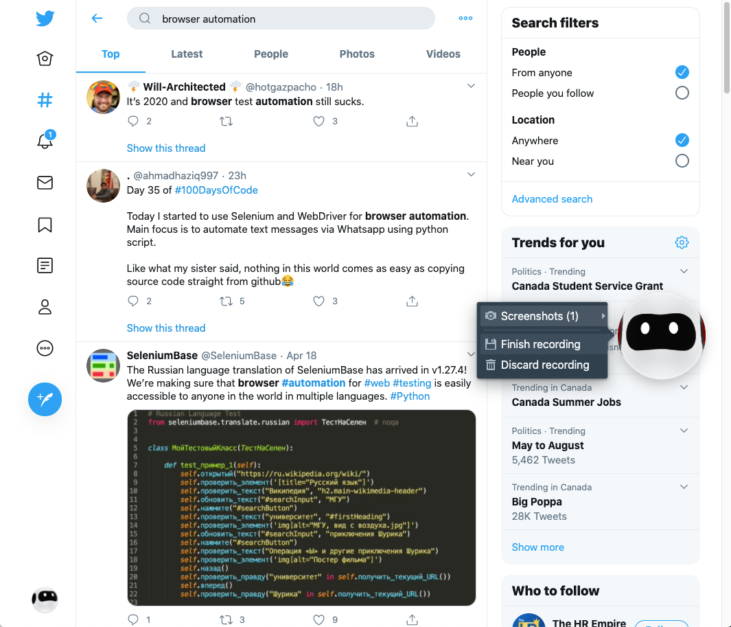 Browser automation - Twitter Search / Twitter
