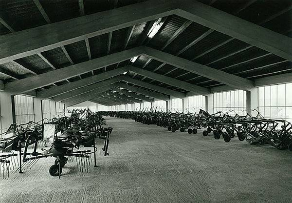 Hall filled with agricultural equipment