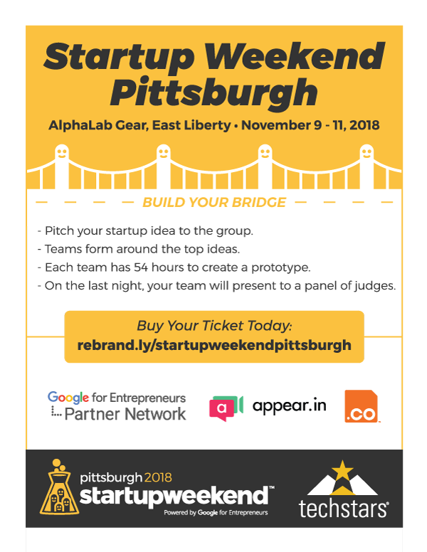 Startup Weekend flyer front side