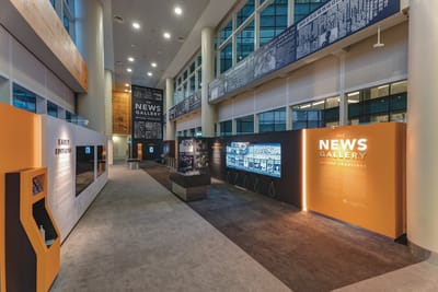 A photo showing an overview of the News Gallery exhibition.
