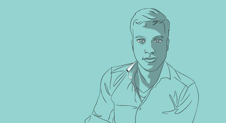 Illustration of a Web Developer on a blue background