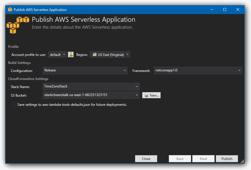 publish aws serverless application