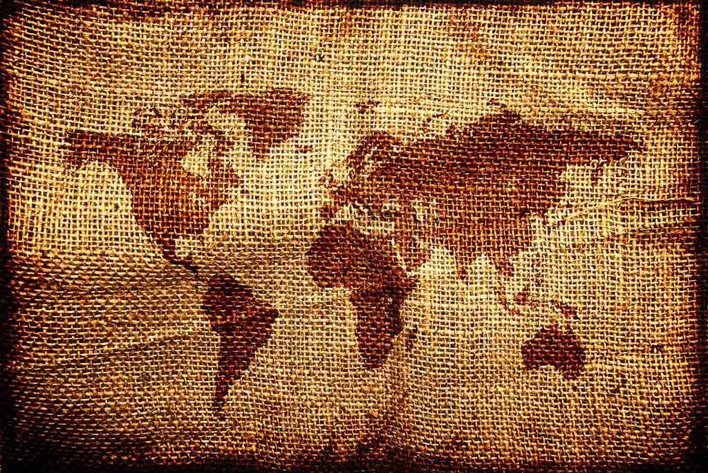 World map in jute