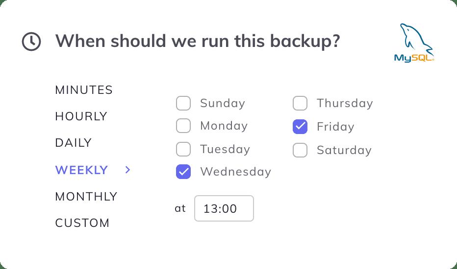 simplebackups mysql schedule