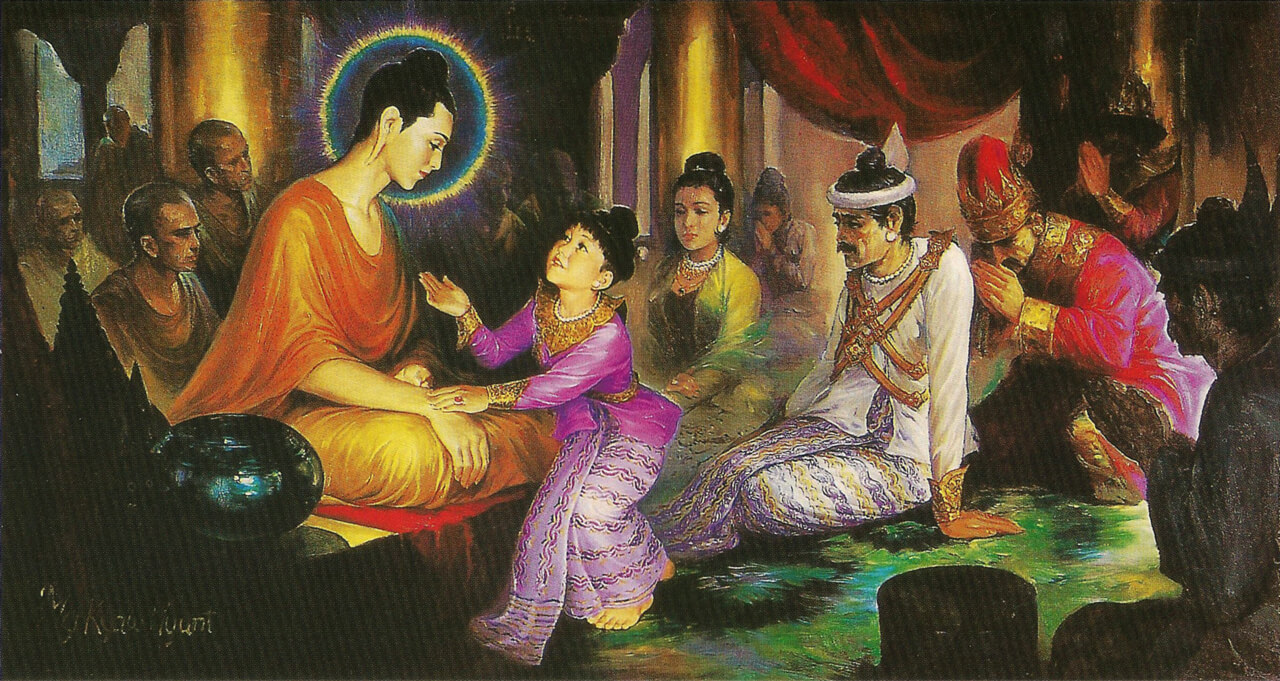 Gautam Buddha, His mother and Prince Rahula