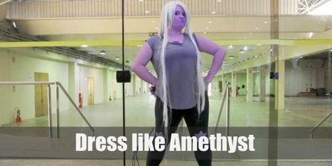 Like the popular color of her name, Amethyst is a lilac-colored being with white hair. She wears a simple outfit consisting of a grey tank top, black leggings with purple stars on the knees, and white sneakers.