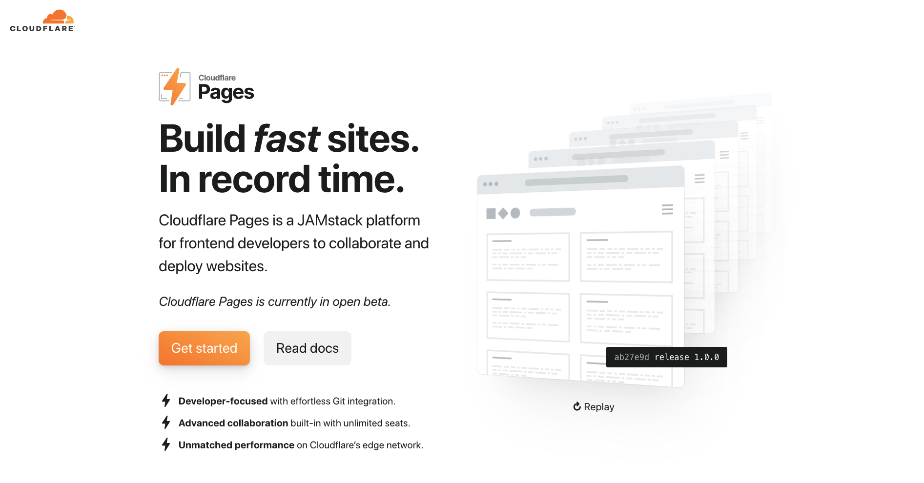 Cloudflare Pages landing page