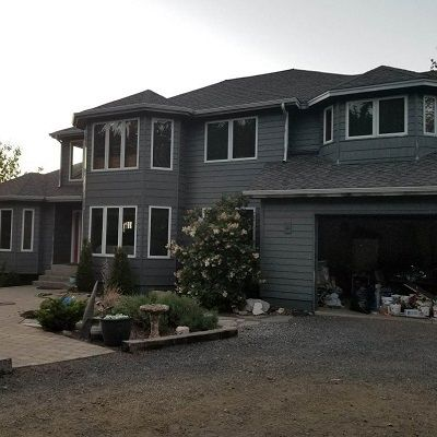 new grey painted two story home