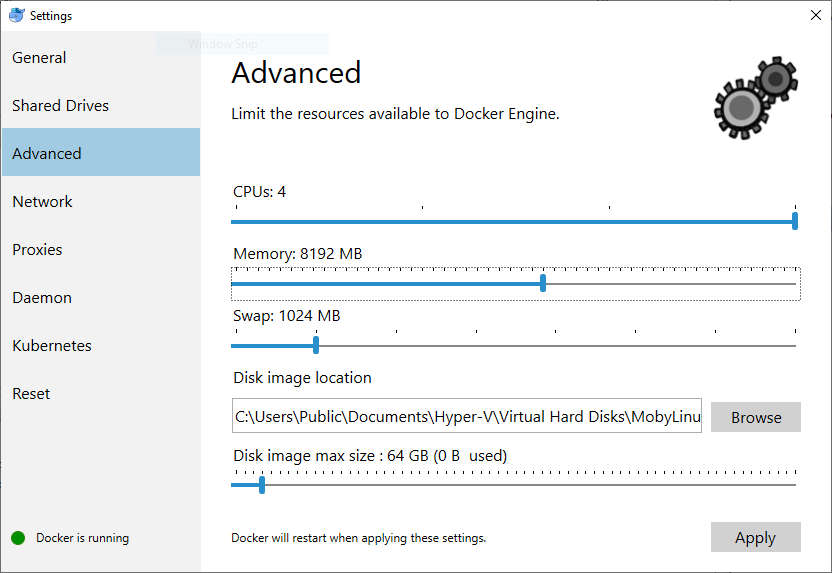 Setting 8Gb of memory in Docker for Windows
