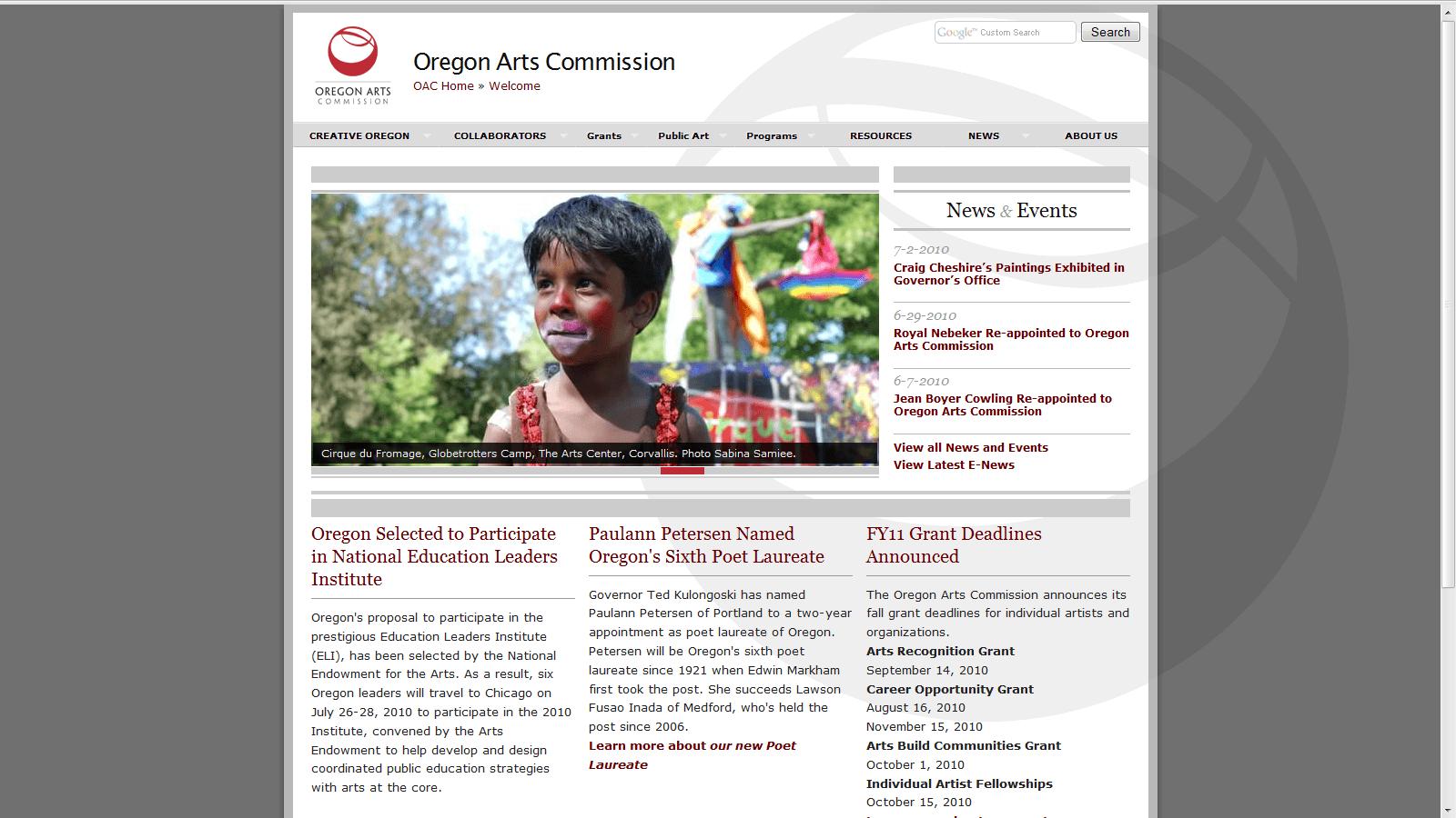 Oregon Arts Commission home page