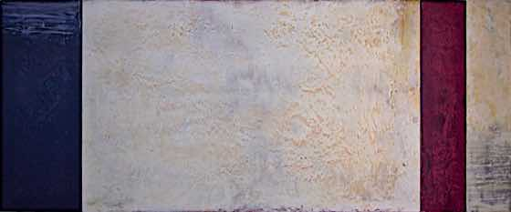 acrylic, plaster on wood panel, 56 in. x 23 in. (142 cm x 58 cm)