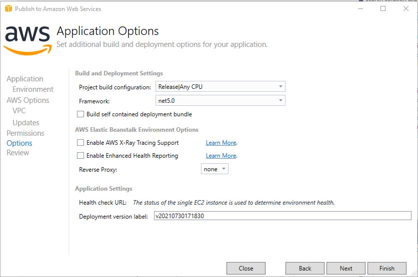 AWS Application Options