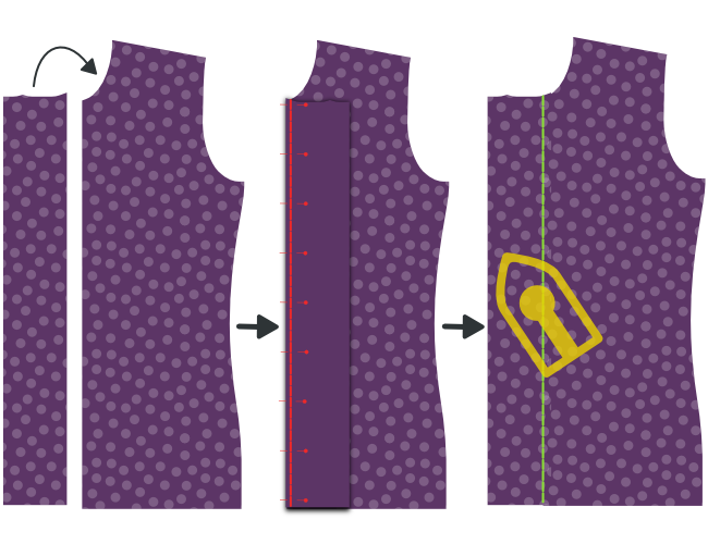 Sew on the buttonhole placket