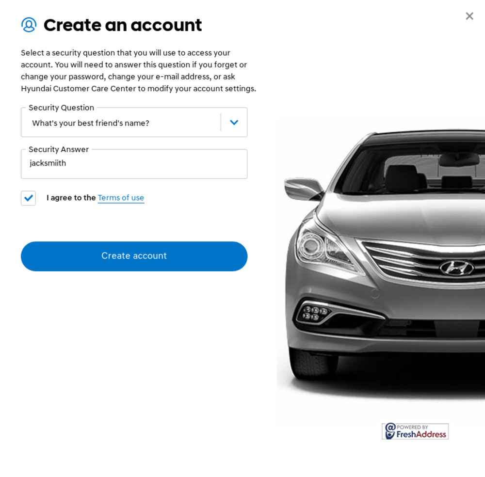 Hyundai security questions