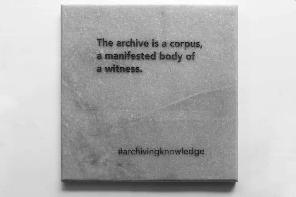 The archive is a corpus, a manifested body of a witness, From the series: Archiving Knowledge, hand engraved marble, 2018