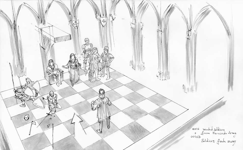 Atoleiros Battle animatic - Chessboard and throne chamber, set design overview