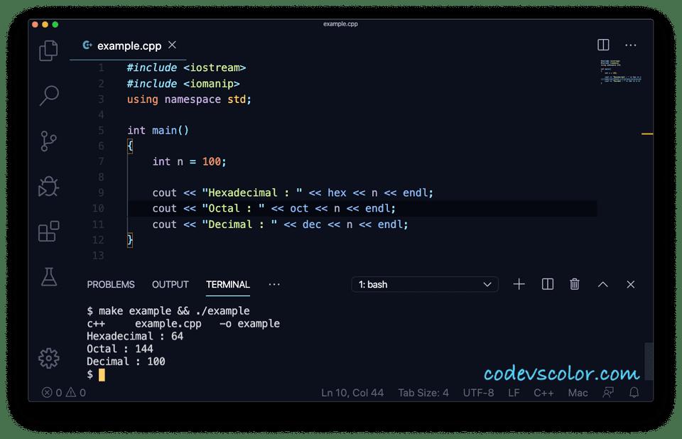 C++ hex oct dec