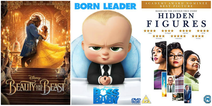 Beauty and the Beast, Boss Baby, Hidden Figures