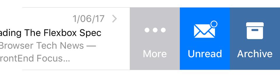 List item menu in the Mail app on iOS