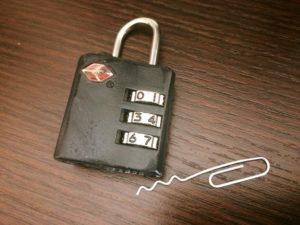 tsa luggage lock and lock pick pin