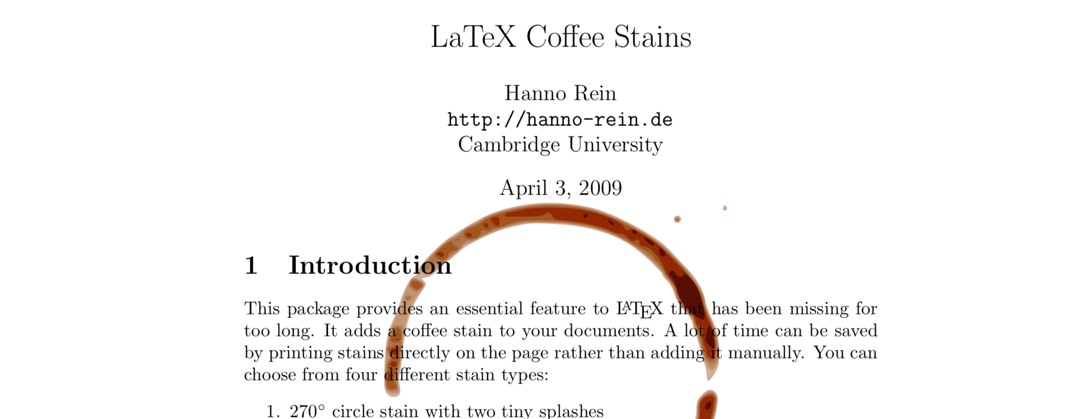 Coffee Stain LaTeX Package