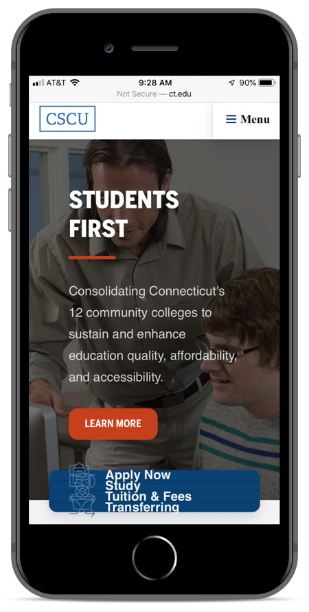 Connecticut's homepage as viewed on an iPhone 8