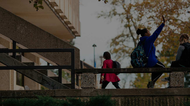 Students high fiving on the steps of the University of Kansas