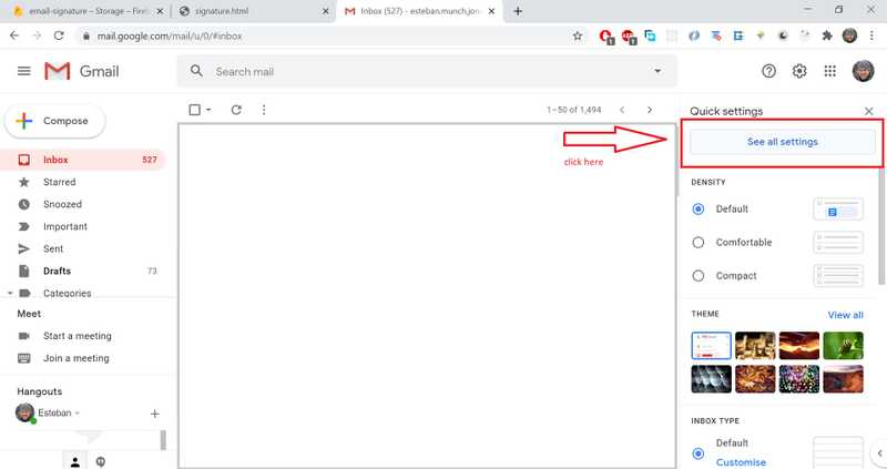 """Click on """"See all Settings"""" in the Gmail dashboard"""