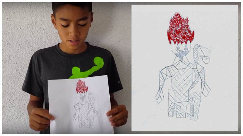 """""""It's a monkey covered in toilet paper with a stopwatch tail and his head is on fire"""" - Joshua (11 years)"""