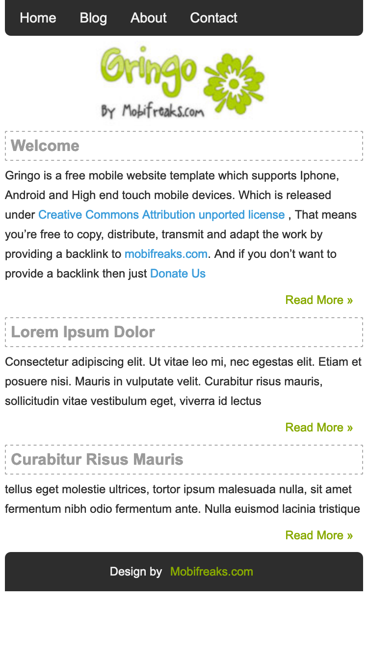 Screenshot of Gringo Mobi mobile website template